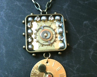 Studded Antiqued Brass with Watch Faces Steampunk Necklace