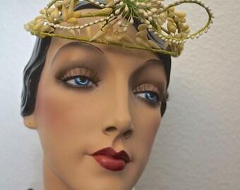 Antique French Wax Floral Bridal Tiara Wedding Crown Headpiece Stunning Wedding Adornment