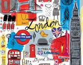 London illustration, modern, whimsical wall art, print, giclee, home decor. blue, red by Farida Zaman