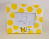 Personalized Baby Frame Yellow Polka Dots