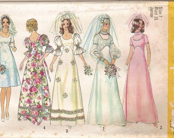 Vintage 70s Bride Bridesmaid Gown Pattern - Simplicity 5462 Empire Waist A-line Wedding Bridal Dance Party Holiday Prom Dress Size 7 UNCUT