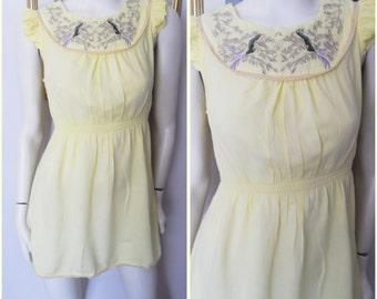 Vtg.70s Lemon Bird Embroidered Flutter Sleeve Mini Dress Tunic.S/M.Bust 36-38.Waist 22-32.