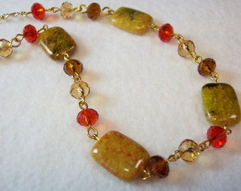 Yellow Necklace, Autumn Color Necklace, Yellow Azurite Chrysocolla Necklace, Red Crystals, Yellow Crystals, Gold Chain Necklace