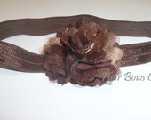 Brown Petite Infant Headband, Baby Flower Headband, Satin Puff Pom Pom Headband, Newborn Headband, Infant Headband