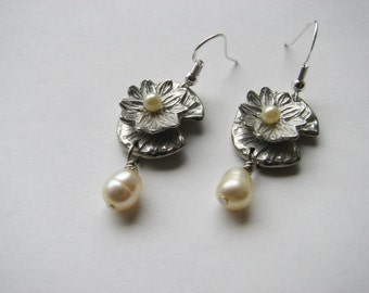 Pearl earrings dangle | pearl drop | sterling silver | water lily | pewter