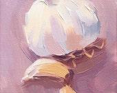 purple garlic kitchen art oil painting - 5 x 7 - Garlic sur la Violette