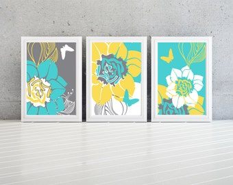 Floral Modern wall art decor-Set of  (3)  yellow grey and turquoise-custom colors available!