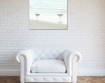beach canvas photography coastal decor sandpipers blue nautical bedroom decor large wall art seashore ocean fine art photograph home decor