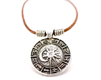 Sun Necklace , Crescent Moon Necklace , Horoscope Necklace , Mens Necklace ,  Leather Necklace , Zodiac Necklace , Mens Jewelry , Amy Fine