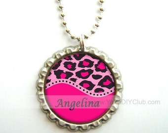Personalized Gift for girls kids birthday gift  - Personalized necklace, bottle cap necklace Leopard Print Pink
