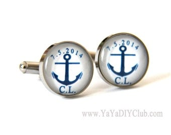 Anchor Wedding Gift for Groom, Anchor Wedding Favor Custom Cufflinks  -Nautical Navy Blue Wedding Gift for Groom, Wedding Gift for Groomsmen