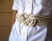 Cotton rope sailor knot belt, nautical