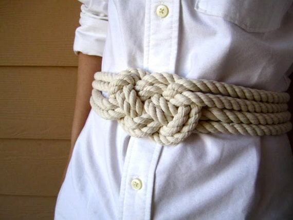 Cotton rope sailor knot belt, nautical