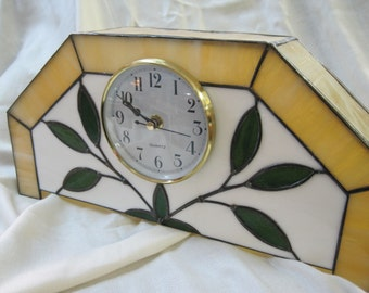 Traditional Stained Glass Clock Brass Bezel