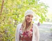 Crochet Adult Beanie Hat, Adult Hat, Crochet Teen Hat, Ivory Cotton Hat, Crochet Hat