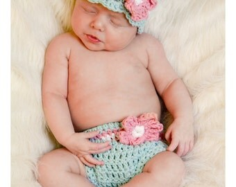 Newborn Baby Girl Hat and Diaper Cover, Baby Photo Prop, Crochet Baby Hat, Newborn Girl Beanie, Cotton, Newborn Size