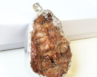 Brown Pendant, Druzy Agate Pendant, Natural Crystal Drusy Teardrop, Natural Stone Dipped In Silver, Select With/ Without Chain