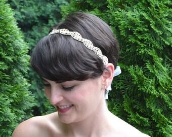 Rose Gold Bridal Headband, Bridal Hairband, Wedding Headband, Wedding Hairband, Gold Rhinestone