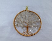 Wire Wrapped Willow Tree of Life; copper, brass, glass, sterling silver, wire, chain, seed beads