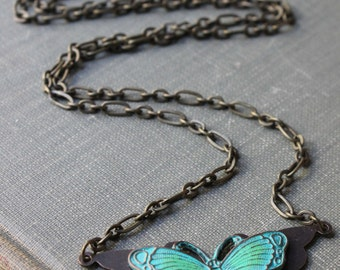 Verdigris patina Butterfly Necklace Antique Brass Necklace