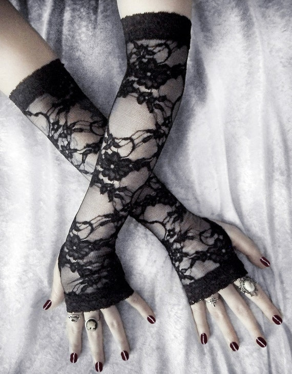 Isabel Lace Extra Long Arm Warmers - Black Floral & Scroll on Sheer - Belly Dance Vampire Bohemian Tribal Wedding Pixie Fetish Burlesque Emo