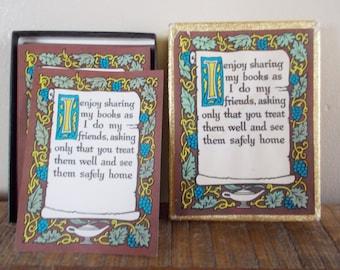 Vintage Antioch Gummed Bookplate Labels - Sharing Books