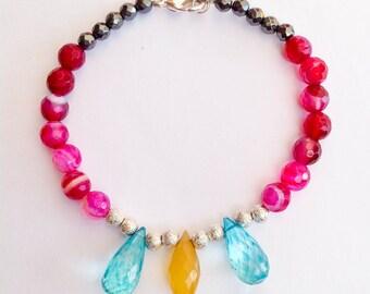 SALE Multi gemstone bracelet  jewelry colorful gemstone bracelet pink gemstone bracelet pink gemstone jewelry pink agate bracelet