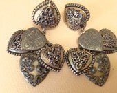 Brass Victorian Heart Charm Earrings – Signed Mary DeMarco