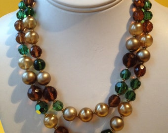 Signed DeMario Double Strand Crystal Pearl Necklace – 1950s Jewelry