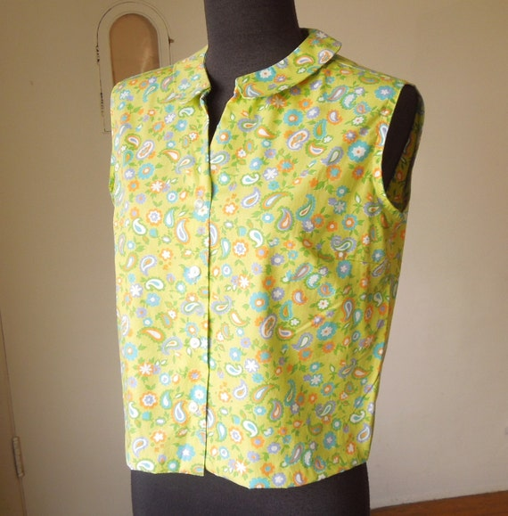 RESERVED FOR MARIAN...Vintage 60's Sleeveless Shirt, Paisley Print, Mint Green Pastel Floral, Rockabilly, Mad Men, Women's Medium