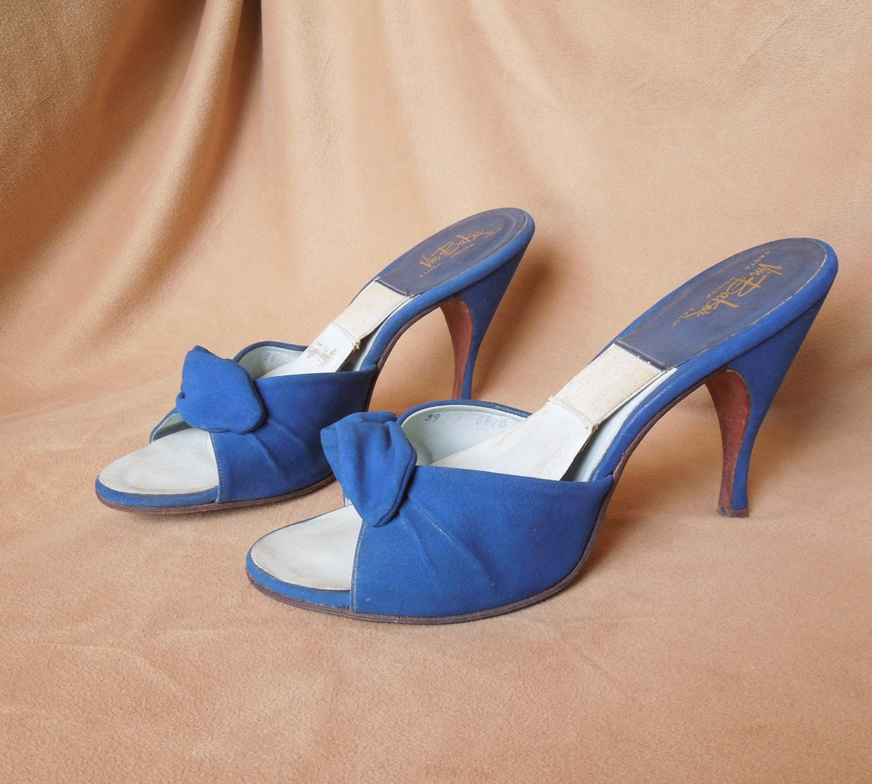 Vintage 50 39 S Springolator Mules Bright Blue Suede