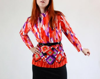 SALE - Vintage 1960s Red Purple Psychedelic Tribal Bold Print Blouse Top