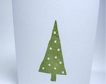Modern Christmas Tree - Note Cards - Gift Cards - Hand Stamped White Card Stock - Polka Dot