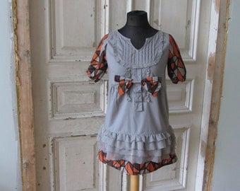 SALE 1960s Mod Inspired Dress, Casual Day Dress, Gray Ruffle Dress, Geometric Print Dress, Short Grey Dress, Upcycled Clothing for Women