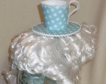 Teacup Fascinator- Aqua and White with Polka Dots