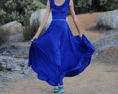Lucía Royal Blue Maxi Ruffled Neckline Dress-Size S