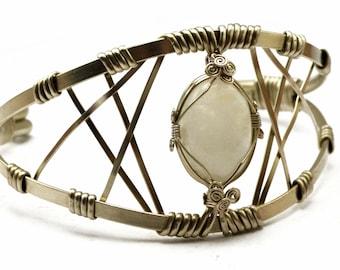 Bridal Arm Cuff, Moonstone Arm Band, Wedding Armlet, Wire Arm Band, Upper Arm Cuff, Upper Cuff Bracelet, Silver Arm Bracelet