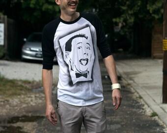80s t-shirts Pee Wee Herman baseball tee stencil art spray painted by Rainbow Alternative