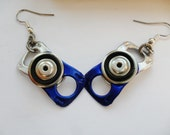 Recycled Can Pull Earrings - Blue and Silver, with Black rubber inner tube