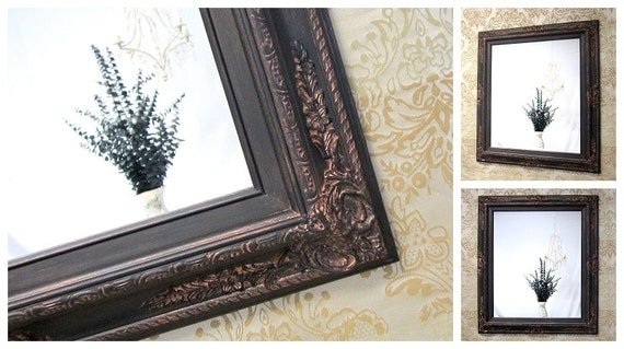 Framed black mirror for sale baroque decorative by revivedvintage for Bronze framed bathroom mirror