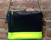RESERVED FOR RACHEL C - Leather Cross Body Bag,  Leather Handbag, Leather Bag, Neon Bag