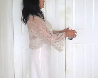 Silk bridal shrug, hand knit silk mohair bolero bridal wrap, luxury knit outerwear