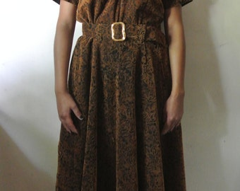 Vintage Brown Handmade Dress Floral Print Dress Size Large X-Large Gift For Her