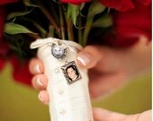 Bouquet Charm with Custom Photo and Oval Crystal