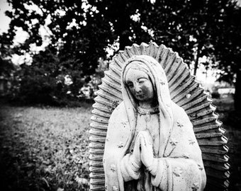 Virgin Mary Art, Black and White Photo, Cemetery Photo, Guadalupe Statue, Graveyard Art, Condolences, Religious Photo, Wall Art, 8 x 8 Print