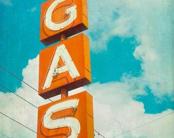 Fine Art Photo, Vintage Sign, Gas Station, Neon Sign, Aqua and Orange, Typography, Retro Print, Mid Century Decor, Wall Art, Man Cave Art