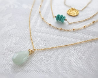 Small Aquamarine Drop Layering Necklace on a Delicate14K Goldfilled Chain