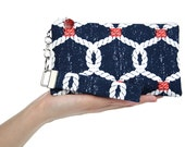 Navy clutch - beach purse - nautical bag with sailors rope knots - blue small purse set with zipper pouch & key fob -  fabric bag for women