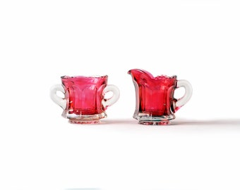 Sugar Bowl and Creamer | Vintage | Ruby Red | Pink | Clear Glass