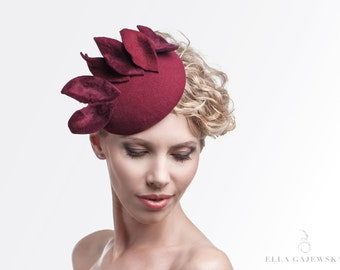 Burgundy - Dark Red - Fascinator on a Headband - Easy to Wear Hat - Designer Head Piece - Leafy - Elegant Hats - Party Accessories